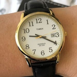 Black and Gold Timex Watch Indiglo